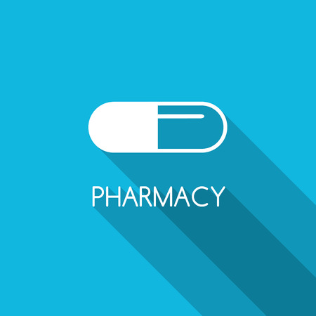 farmacia: Farmacia diseño de fondo. cápsula blanca sobre fondo azul. icono de la cápsula línea. símbolo de la farmacia. diseño de estilo plano con la cápsula.