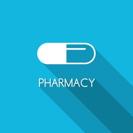symbol: Pharmacy design background. White capsule on blue background. Line capsule icon. Pharmacy symbol. Flat style design with capsule. Illustration