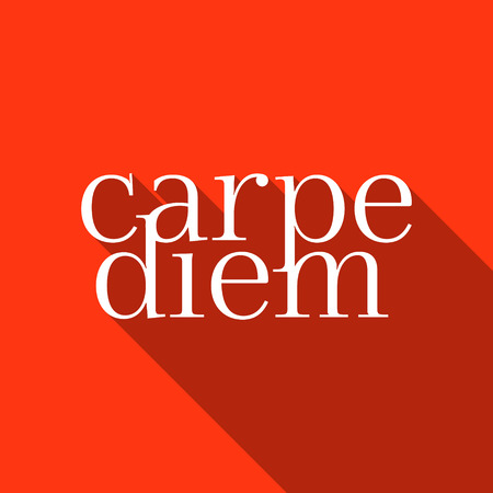 seize: Carpe diem - Seize the day! Motivational quote- Motivational design with Carpe diem on red background. Flat style vector illustration. Illustration