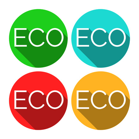 ecologic: ECO vector stickers. Environmental themed stickers. Flat style design with long shadows. Eco stickers for product package. Green ecologic approach.