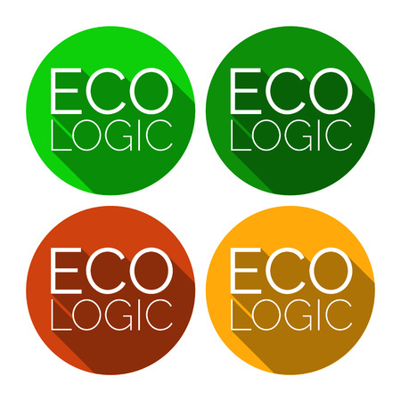 ECO LOGIC ecologic vector sticker. Flat style design with environmental theme. Ecologic sticker for product packages. Ecologic badges and stamps in four colors with long shadows. Ecologic is logical.