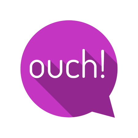 ouch: Ouch! Cartoon talk bubble. Purple talk bubble. Flat style vector illustration.