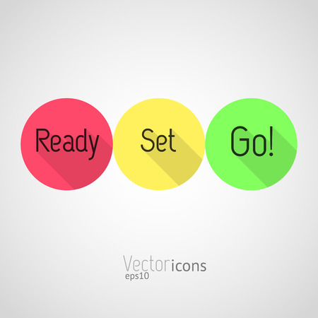 Countdown - Ready, Set, Go! Colorful vector icons. Flat style design with long shadows. Stock Illustratie