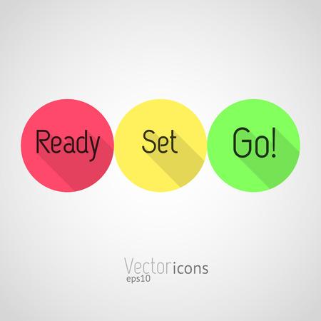 Countdown - Ready, Set, Go! Kleurrijke vector iconen. Vlakke stijl ontwerp met lange schaduwen.