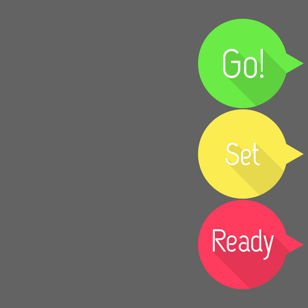 countdown: Ready - Set - Go! Countdown. Talk bubbles with Ready, Set and Go! in three colors. Flat style vector illustration. Illustration