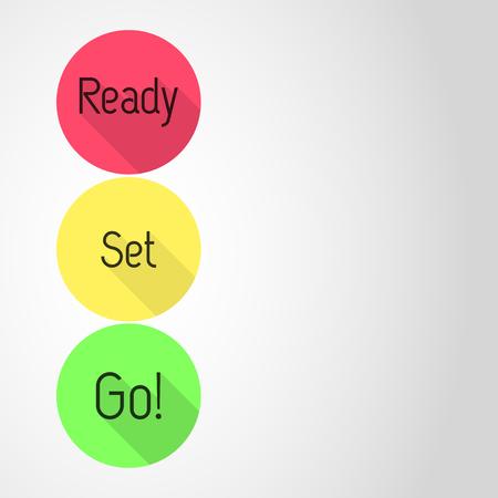 Klaar voor de start af! aftellen. Drie iconen met Ready, Set en wegwezen! drie kleuren. Lege sjabloon. Vlakke stijl vector illustratie.