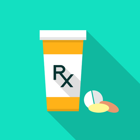 Pill bottle with Rx sign and pills. Pharmacy design. Pill bottle with Rx sign. Flat style pharmacy design. Rx as a prescription symbol on pill bottle.