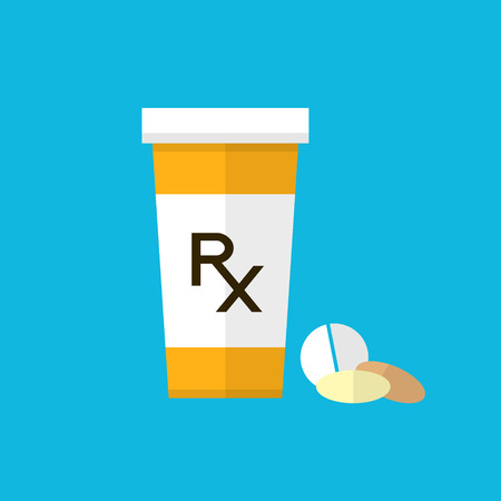 Pharmacy design. Pill bottle with capsules and pill. Flat style design. Pharmacy background. Rx symbol for prescription. Vector design with pill bottle and pills.