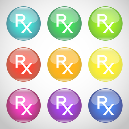 Shiny Rx buttons. Colorful set of symbols of prescription. Medicine and pharmacy. Vector illustration.
