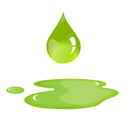 Olijfolie drop en morsen. Stock Illustratie