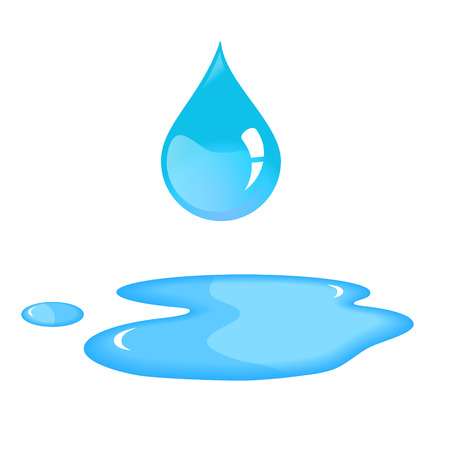 mojada: gota de agua azul y derrame. Vectores