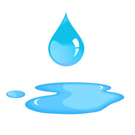 Niebieski kropla wody i zalanie. Ilustracje wektorowe