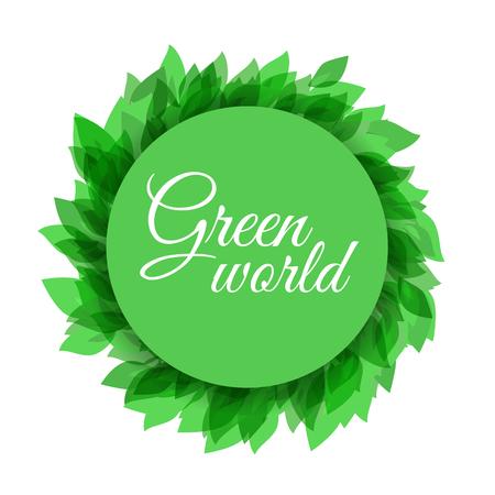 Schone natuurlijke milieu-ontwerp met groene bladeren. Natuurlijke sjabloon met plaats voor uw tekst, kopieer ruimte. Stock Illustratie