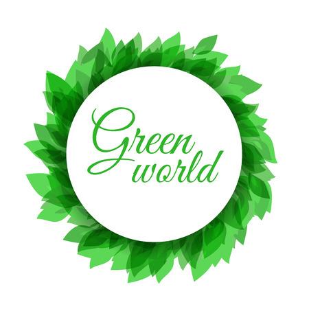 Geïsoleerde natuurlijke element voor uw project (web, affiche, pamflet, kaart, etc.) met voorbeeld tekst. Groen en milieu-template in strak design.