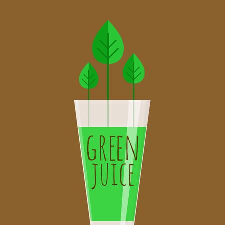 Glanzend glas vol groen sap op bruine achtergrond.