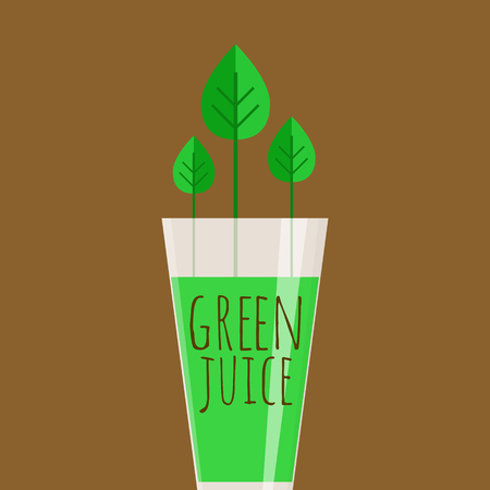Shiny glass full of green juice on brown background.
