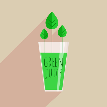 Green juice in trendy flat style. Glass of healthy green drink with growing leaves as part of your well-being. Vector illustration.