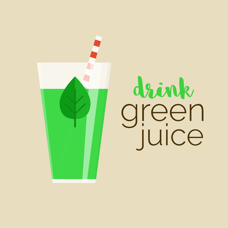 Drink green juice - vector illustration of well-being healthy trend. Glass of green juice with leaf and text for your design. Popular raw diet.