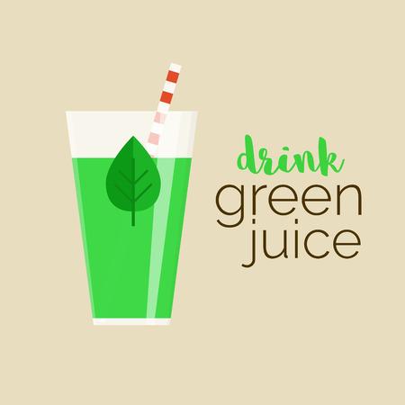 Drink groene sap - vector illustratie van welzijn gezonde trend. Glas groen sap met blad en de tekst voor uw ontwerp. Populaire rauwe voeding.