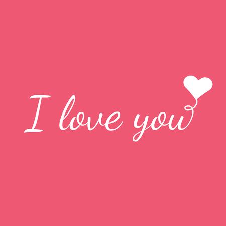 Ik hou van je met ballon in de vorm van hart - eenvoudige roze vector illustratie. Jeugdige ontwerp voor Valentijnsdag. Stock Illustratie