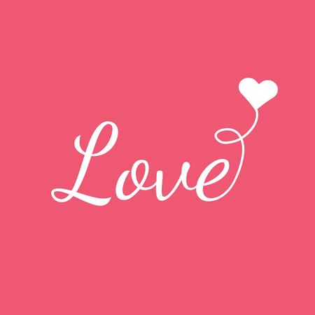 LOVE - eenvoudige vector op roze achtergrond. Jeugdige stijl. Liefde met hart-vormige ballon.