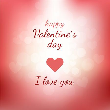 Happy Valentines Day gift kaart met letters en roze en rode vage achtergrond met verlichting en harten. Holiday vector illustratie voor uw ontwerp. Happy Valentines Day en ik hou van je. Stock Illustratie