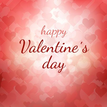 Happy Valentines Day gift card. Tekst op roze en rode abstract wazig background.Holiday vector afbeelding met lichten en harten.