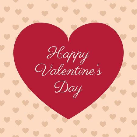 Valentines Day vector ontwerp. Rood hart met de tekst en naadloze patroon met hartjes op de achtergrond. Fijne Valentijnsdag! Stock Illustratie
