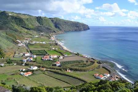 praia: Azores, Santa Maria, Praia Formosa - rocky coastline, beach with white sand