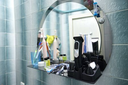 personal hygiene items for the whole family. Toothbrushes, razors, shower gels and also a trimer. Imagens