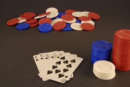 jack pot: A royal flush in spades. Stock Photo