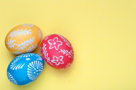 Easter eggs on a yellow background. Stock Photo - 11745165