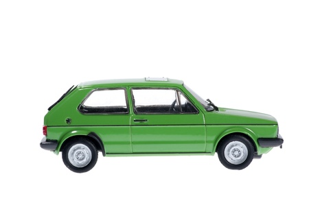green car on white background. 免版税图像