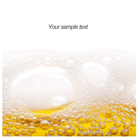 Foam and bubbles of beer to the project. photo