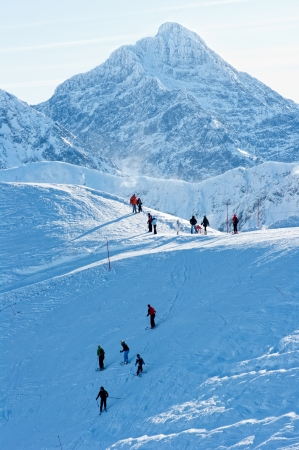 People on the snow-covered peaks of the Tatra mountains