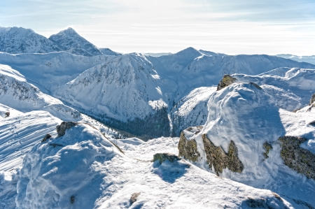 Beautiful Tatra Mountains in winter in a sunny, frosty day  photo