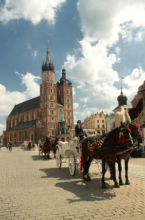 Carriages under the cloth hall in Krakow.