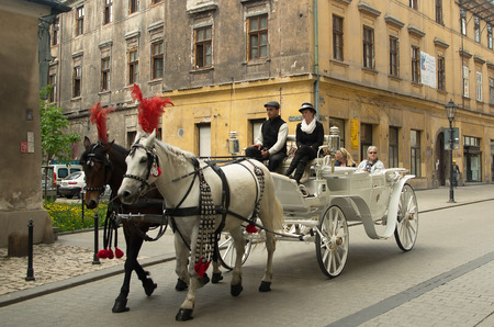 Horse carriage in Krakow on the old street.