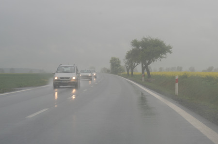 driving conditions: Fog and heavy rain on the street create dangerous driving conditions.