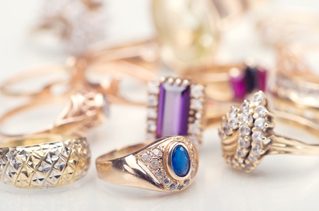 in jewelry: A collection of gold jewelry Stock Photo