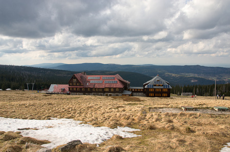 wanderers: Shelter at Szrenica in the Karkonosze Mountains
