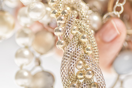 woman's hand: Expensive jewelry in womans hand. Stock Photo