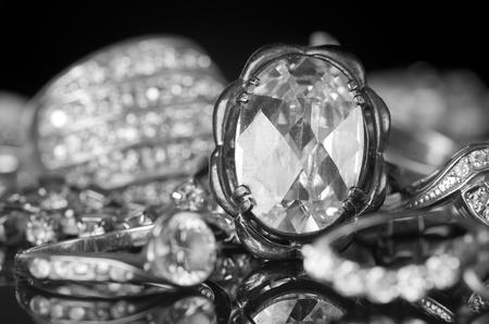 silver jewelry: Silver jewelry on black background.