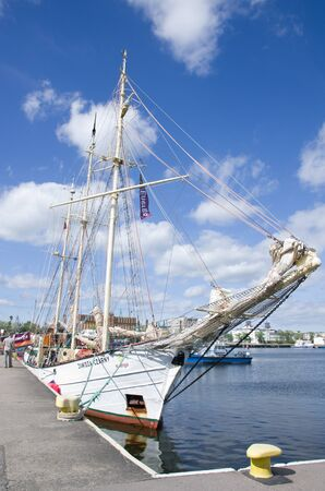 Gdynia, Poland - June 2017: Sailing ship Zawisza Czarny in the port of Gdynia.