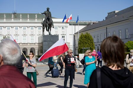 Democracy Defense Committee - demonstration in Warsaw near the Presidential Palace, May 5, 2018 新闻类图片