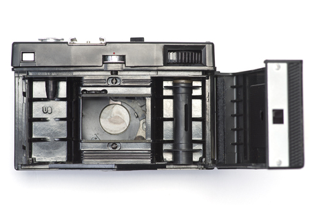The interior of the old camera to which a photo film is inserted to take pictures. Standard-Bild - 115239074
