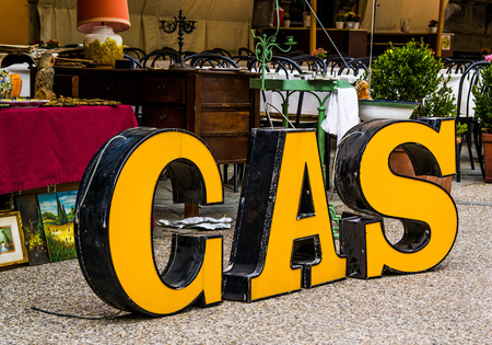 Big yellow letters from an old petrol: gas photo