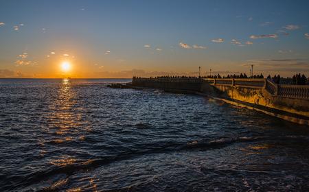leghorn: Beautiful winter sunset on the sea in Leghorn