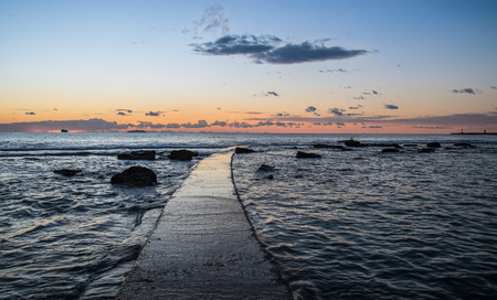 leghorn: Panoramic sunset on the Tuscany sea in front of Leghorn Stock Photo