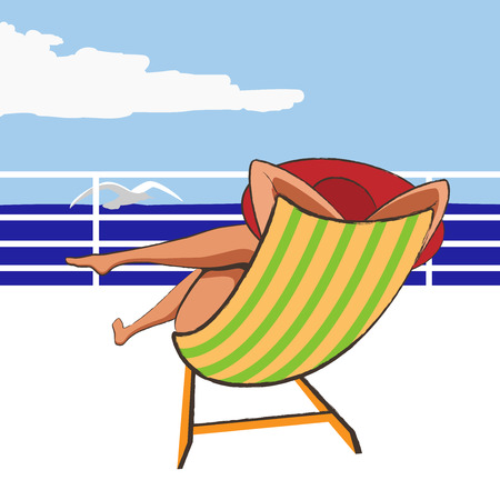 Girl in hat relaxing on the beach chair.Fashion Illustration. Illustration